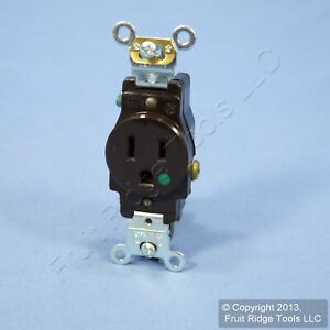Leviton Brown HOSPITAL GRADE Receptacle Single Outlet 15A Bulk 8210