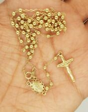 """Rosary Crucifix Medallion Cross Chain Necklace 10K Yellow Gold 4.8 gr 18"""""""