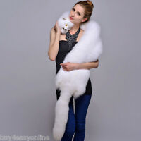 Women&Men Real WHOLE White Fox Fur Shawl Cape Wrap Scarf Fur Collar Neck Warmer