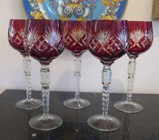 BOHEMIAN RUBY CUT TO CLEAR WINE HOCKS GLASSES STEMS SET OF 5