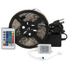 RGB 5M 300 LED Light Strip 5050 Flexible Waterproof with 24-Keys Remote & Power