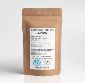 Cranberry Juice 12000mg 60 Tablets Vegan Cystitis, Urinary Bladder, Liver Health