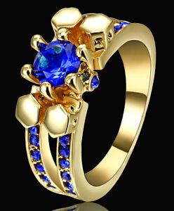 Jewellry Size 8 Cute Sapphire Gold Rhodium Plated Engagement Ring For Woman's
