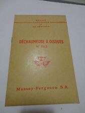 ancienne publicite tracteur massey ferguson dechaumeuse a disque n°862  Brochure
