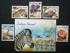 4Cuba Sc#4508-4513 AFRICAN ANIMALS zebra lion giraffe elephant SET of 5 +SS used