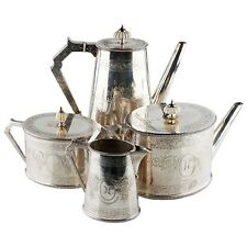 1849 Elkington, Mason & Co Silverplate Coffee & Tea Set (4 Pcs) Cream Sugar 8023