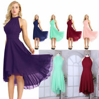 Womens High Low Short Bridesmaid Dresses Chiffon Halter Prom Dress Evening Party