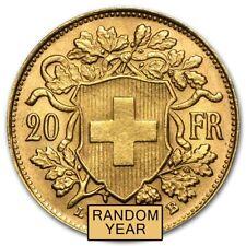 Random Year 0.1867 oz Swiss 20 Franc Helvetia Gold Coin AU