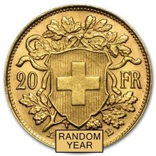 Special Price! Random Year 0.1867 oz Swiss 20 Franc Helvetia Gold Coin AU