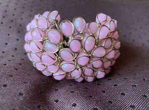 Rare French Designer Bracelet -Gripoix. Pink glass beads enchased on brass frame