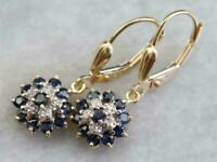 2.50 Ct Blue Sapphire Diamond 14K Yellow Gold FN Cluster Drop/Dangle Earrings