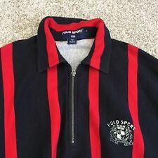 mens ralph lauren polo sport vintage pwing sweatshirt 1/4 zip striped Large WM10