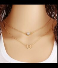 Horse shoe  Rhinestone  double layer Necklace Gold toned