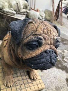 Stone PUG ornament Life size Sitting Pug Dog Stone Cast Hand Finished