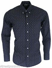 Relco Mens Navy Abstract Patterned Long Sleeved Button Down Vintage Shirt Retro XL