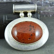 in Sterling Silver Pendant Taxco Mexico Oval Jasper