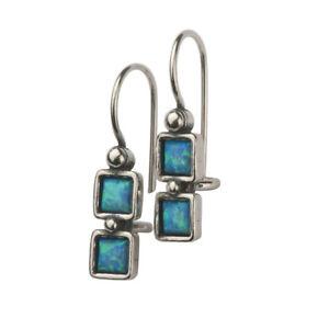 New Sterling Silver SHABLOOL drop Blue Opal Earrings