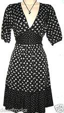 Warehouse Größe 10 Jahre durchzuführen Fünfziger WW2 Landgirl Stil Tee Kleid Retro Schwarz ~ EU 38 US 6