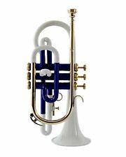 PREMIER POCKET TRUMPET WHITE & BLUE NEW, GREAT QUALITY, FREE H CASE + M PIECE