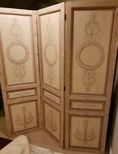 Signed MAITLAND SMITH Hand Painted Fleur-de-lis Room Divider 3 panel solid wood