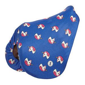Derby House Unicorn Fleece Saddlery Saddle Cover - Dazzling Blue Fandango Pink