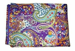 Indian Handmade Cotton Paisley Design Purple Kantha Quilt Coverlet 90x60 Inches