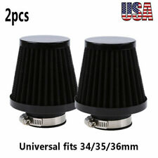 2x 34/35/36mm Cold Air Filter Intake Cleaner Pod Black Universal Motorcycles ATV