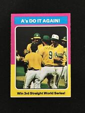 """OAKLAND A'S WORLD SERIES """"WIN 3RD STRIAGHT"""" 1975 TOPPS VINTAGE BASEBALL CARD"""