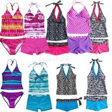 2fe232bbb12e7 Kids Girl Two Piece Halter Tankini Set Swimwear Swimsuit Bathing Suit Size  8-16T
