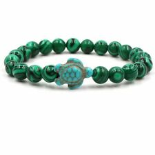 Malachite With Blue Turtle Bracelet Unique Natural Energy Stone Healing