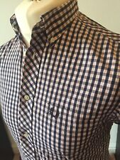 Fred Perry White Navy Red Check Shirt Small S/S Button Down Mod Ska Skins Ivy