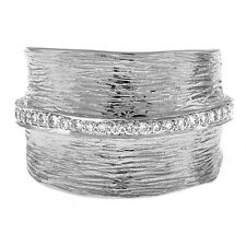 14 KT White Gold & Pave Diamonds Thick Wide Cigar Band Ring Textured NEW