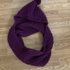 2 Chic Womens Hooded Infinity Wrap Scarf Knit Eggplant Purple Warm New Sx59