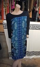 BNWT Stunning Monsoon UK 16 Black Dress Paisley Front Print 3/4 Sleeves