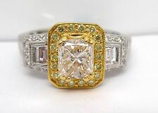 18K YELLOW WHITE GOLD 1.03 TCW PRINCESS BAGUETTE DIAMOND ENGAGEMENT RING