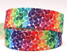 1M X 22mm Grosgrain Ribbon Craft DIY Cake Decorations Hair Bows - Rainbow Colour