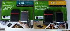 Seagate Backup Plus Slim 4TB & 2TB Portable External Hard Drives  LOT Of 2  NEW!