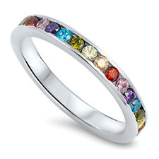 Eternity Multi Color Stackable Swarovski  925  Sterling Silver Ring 3 - 12