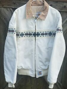 VTG White Carhartt Aztec Navajo Western Print Canvas Work Jacket Men's Large USA