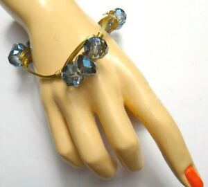 Bangle Bracelet Bourbon and Boweties w/Tag, AB Blue Crystal Beads, Gold Plated