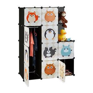 Steckregal Kinderzimmer mit Tiermotiven, Kunststoff Stecksystem, Kleiderschrank