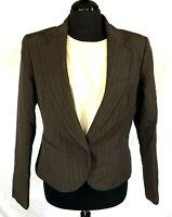 Lafayette 148 New York Gray &Lavender Striped New Wool Career Blazer Jacket Sz 8
