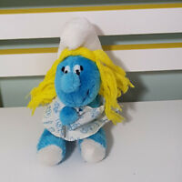 SMURFETTE SMURF GIRL SMURF PLUSH TOY SOFT TOY 80S IN A DRESS! 18CM PEYO!