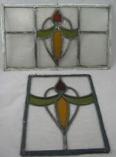 More details for stained glass lead window panel  vintage art nouveau x 2 1930's ?