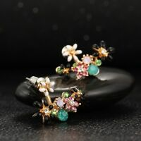 Romantic Crystal Princess Stud Flowers Accessories Earrings Jewelry For Women