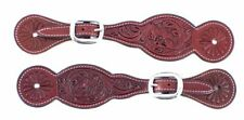 Showman Burgundy Leather Floral Tooled Spur Straps