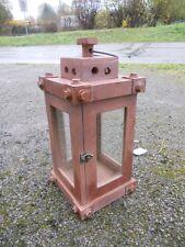 Laterne Windlicht Holz braun Industrie Look Shabby 45 Cm Geschenk