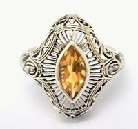 Citrin Ring Citrin & Perlen   925er Silber  ANTIK STYLE  # 54