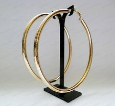 "4""OVERSIZE HOOP EARRINGS large GOLD FASHION 10cm plain thick metal hoops"