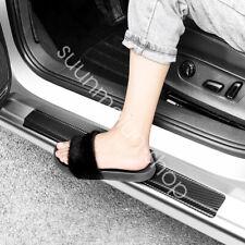 4x Black Carbon Fiber Car Scuff Plate Door Sill Cover Panel Step Protect Guard